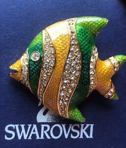Signed Swan Swarovski Angel Fish Brooch Pin
