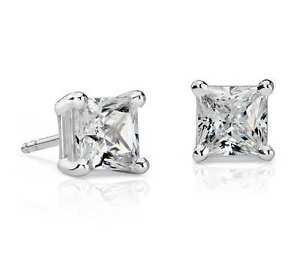 18Carat-White-Gold-Princess-Cut-Diamond-Solitaire-Ear-Studs-4-Claw-0-23cts-G-VS