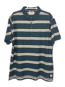 Linksoul-Mens-L-Blue-Gray-Stripe-Short-Sleeve-Golf-Polo-Shirt-Tempus-Fugit