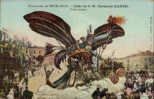 Nice-France-Carnaval-1909-Elaborate-Parade-Float-Artist-Drawn-Postcard-1