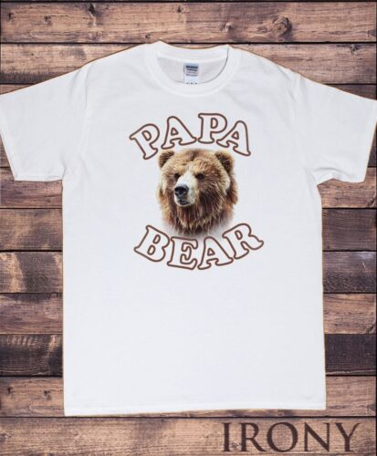 """Funny Fathers day gift TS855 Men's White Top /""""Papa Bear/"""" Funny Iconic Bear"""