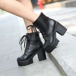Women-039-s-Lace-Up-Chunky-Heels-Shoes-Platform-Punk-Goth-High-Top-Ankle-Boots-WD099