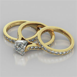 2.92 Ct Asscher Moissanite Engagement Trio Band Set 18K Solid Yellow Gold Size 7