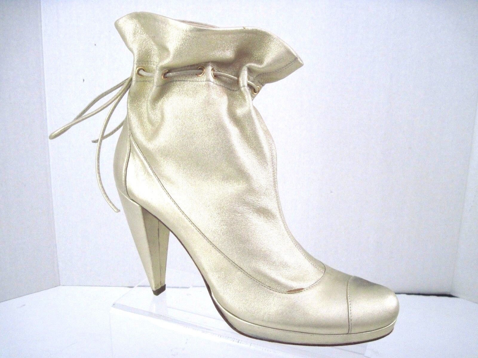 GIGI FAVELA Metallic Gold Leather Dress Rockabilly Abkle Booties SZ 37 1/2 Italy