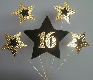 Image Is Loading 16th BIRTHDAY CAKE TOPPER STARS Gold And Black