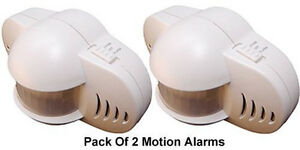 Pack Of 2 Portable Motion Alarm Systems With Expandable Wired Terminal