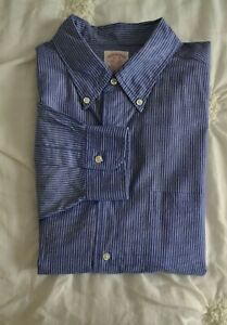 Mens-039-s-Brooks-Brothers-Casual-Shirt-Striped-Button-Front-Cotton-Blue-Sz-17-35