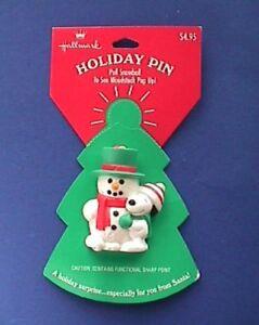 Hallmark-PIN-Christmas-Vintage-SNOOPY-amp-WOODSTOCK-Snowman-POP-UP-Holiday-NEW