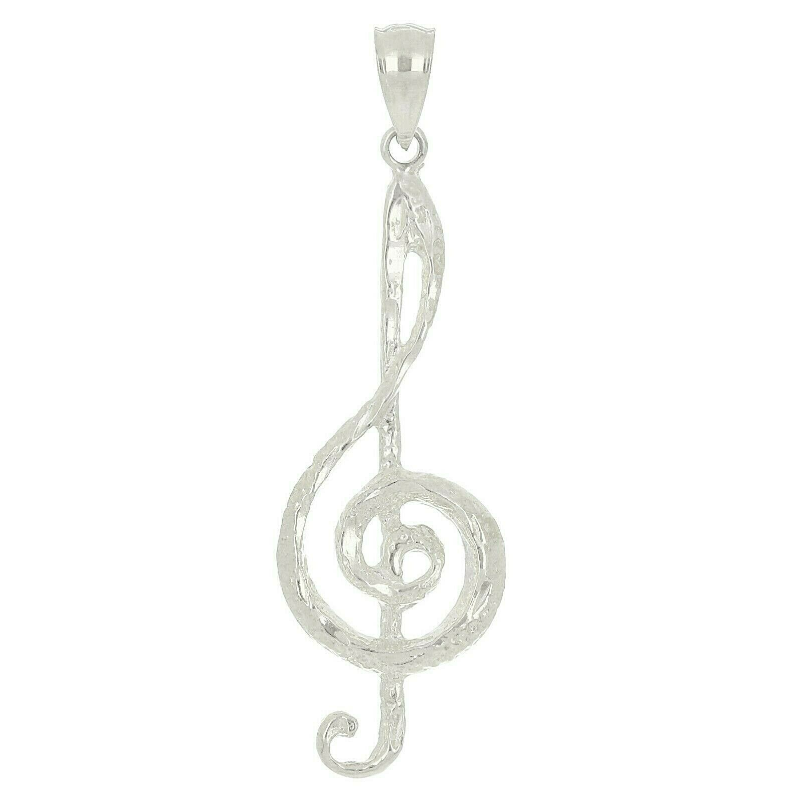 14K Yellow Gold Treble Clef Charm Music Note Jewelry