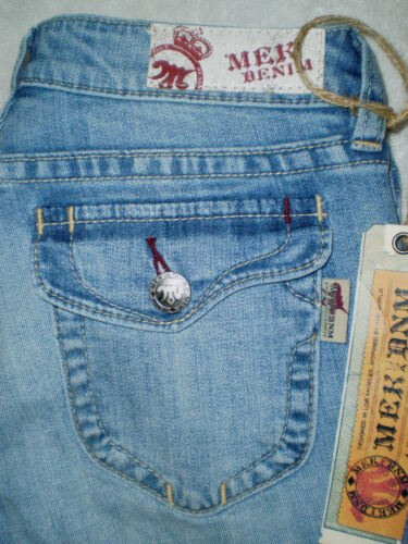 30 New $135 Mek Denim New York Boot Womens Blue Stretch Denim Jeans Size 29