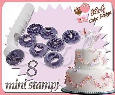 SET 8 STAMPINI STAMPI AD ESPULSIONE CAKE DESIGN per PASTA DI ZUCCHERO e FONDENTE