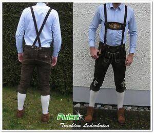 neu-bayrische-Trachtenlederhose-Lederhose-Kniebund-Hosentraeger-Stickerei-Pulsz