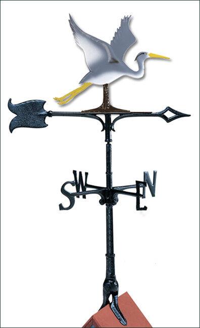 blancohall azul Heron 30  Weathervane de la azotea con Montura Completa Color libre óxido