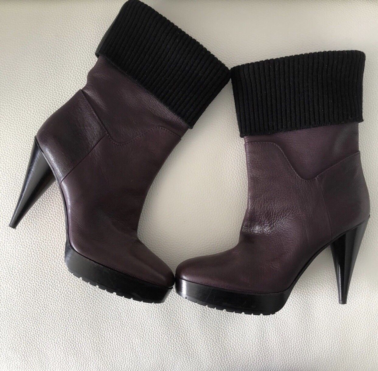 Lanvin Leather Deep Purple Platform Boots with Black Fabric Top Never Worn