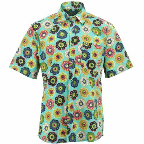 Mens Shirt Loud Originals REGULAR FIT Floral Green Retro Psychedelic Fancy