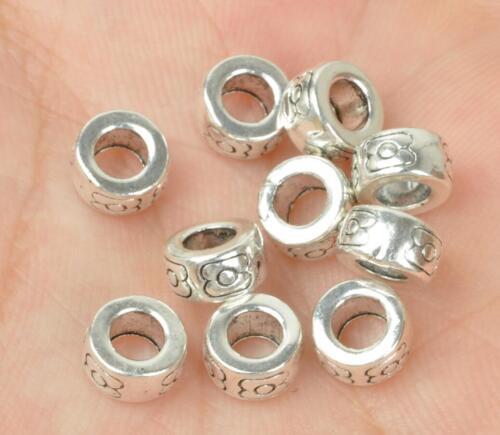 30pcs 100pcs Tibetan Silver Charms Loose Spacer Beads 4x6mm Bille C3501