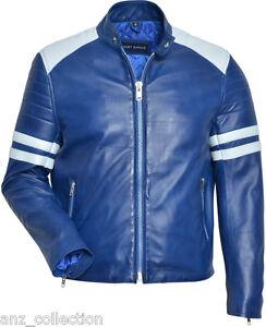da agnello Blue righe uomo Mayhem biker pelle Fight a con rivestimento stile bianche in Club di FnB5w6qWx6