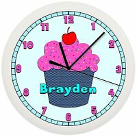 Pink And Teal Blue Cupcake Wall Clock Personalized Gift Wall Decor Art Bakery