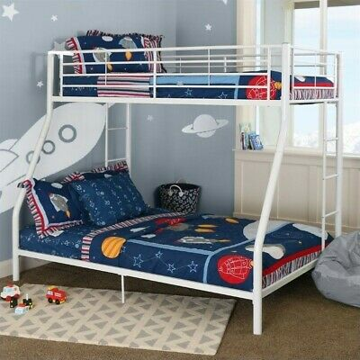 Walker Edison Contemporary Twin Over Full Bunk Bed In White Ebay