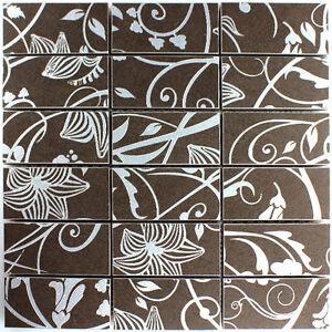 Teros Feinsteinzeug Mosaik Fliesen Ornament Flower Braun 48x98x10mm