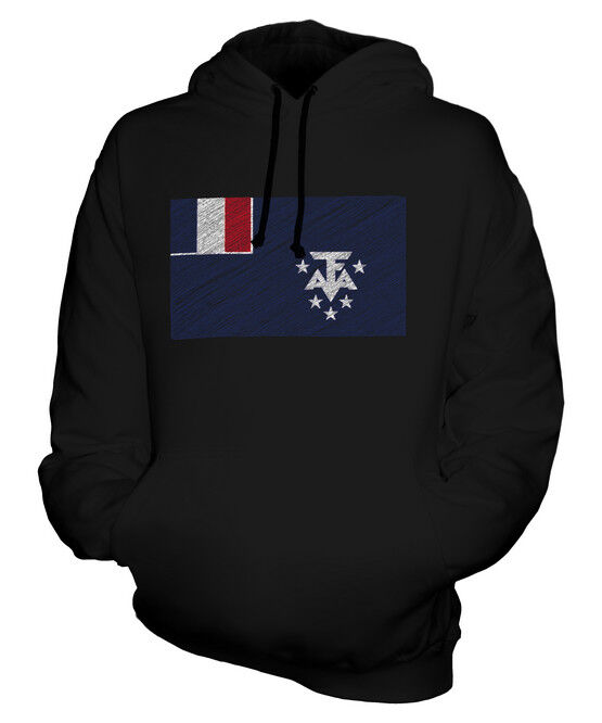 FRENCH SOUTHERN AND ANTARTIC LANDS SCRIBBLE FLAG UNISEX HOODIE TOP GIFT FOOTBALL