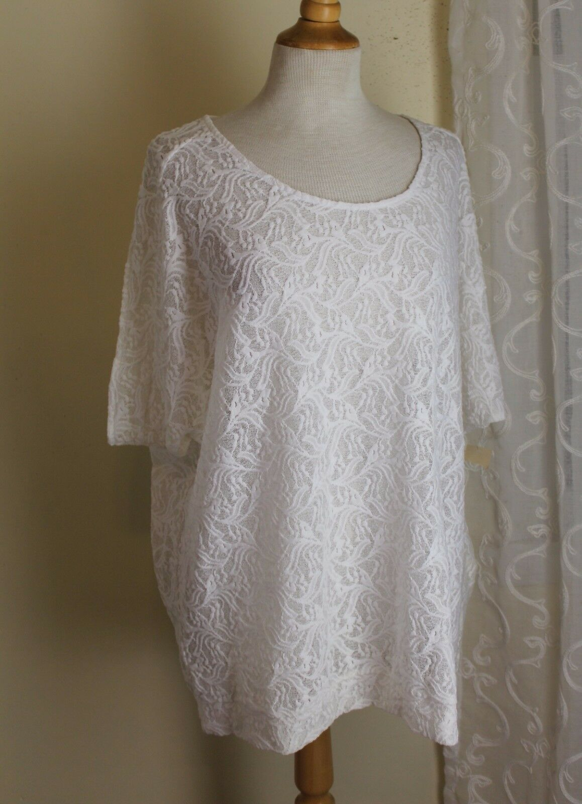NWT Coldwater Creek -Sz 1X Soft Weiß Romantic Lace Floral Long Tunic Knit Top