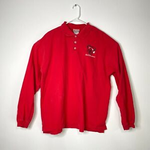 "WALT DISNEY WORLD Vtg Mickey Santa Hat Christmas 1/4 Button Shirt Mens XL 26/28"""