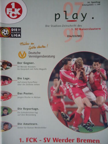 FC Kaiserslautern Programm 1998//99 1 Werder Bremen