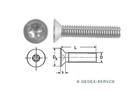 Senkkopfschrauben DIN 965 TORX M2x3 bis M2x20 mm EDELSTAHL V2A ISO 14581 GEDEX