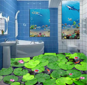 3D verde Hoja De Loto Planta de Impresión De Parojo de papel pintado mural 5 5D AJ Wallpaper Reino Unido Limón