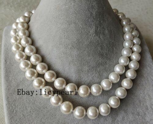 doppelt Strand 12 mm Weiß Muschel Perle Halskette shell pearl necklace