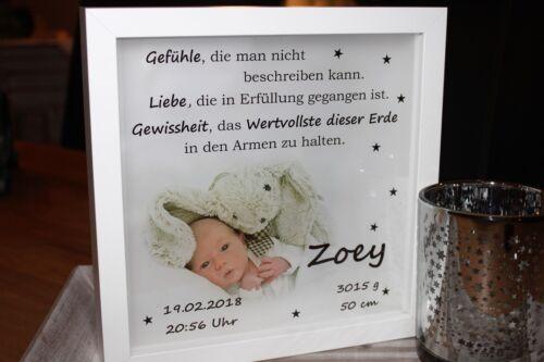 Name Foto Ihres Babys beleuchtet Datum zur Geburt o Taufe LED Bilderrahmen
