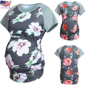 Women-Maternity-Short-Sleeve-Top-Floral-Blouse-Splice-T-Shirt-Pregnancy-Clothes