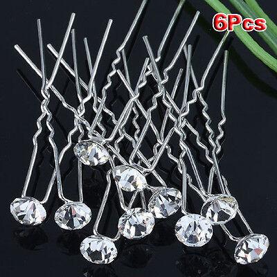 (Pack of 6 pcs) Crystal Rhinestones Hair Pins LW