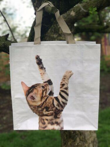 Tabby Kitten Reusable Shopping Bag Cat Lovers Tote Shopper Beach Eco Friendly