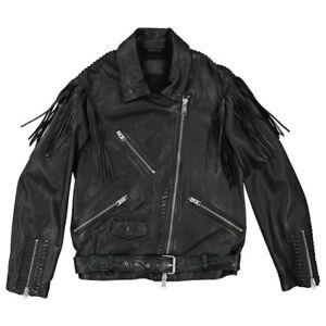 All-saints-Leather-Black-fringes-zipped-jacket-Mens-size-large