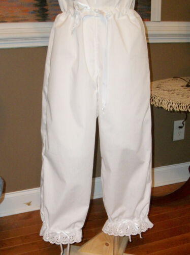 CIVIL WAR~VICTORIAN 1860/'s WHITE COTTON W//EYELET CROTCHLESS PANTALETTS~SM//MED