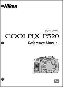 nikon coolpix p520 digital camera user guide instruction manual ebay rh ebay com Nikon Coolpix P80 User Manual Nikon Coolpix P80 Manual