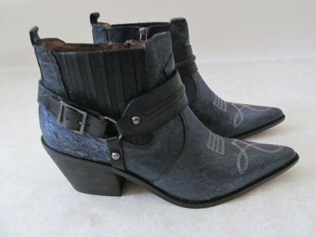 299 DONALD J PLINER METALLIC BLUE LEATHER ANKLE WESTERN BOOTS SIZE 9 M - NEW