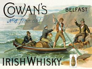 4 vintage ad reproduction steel sign bar decor Cowans Belfast Irish Whiskey no
