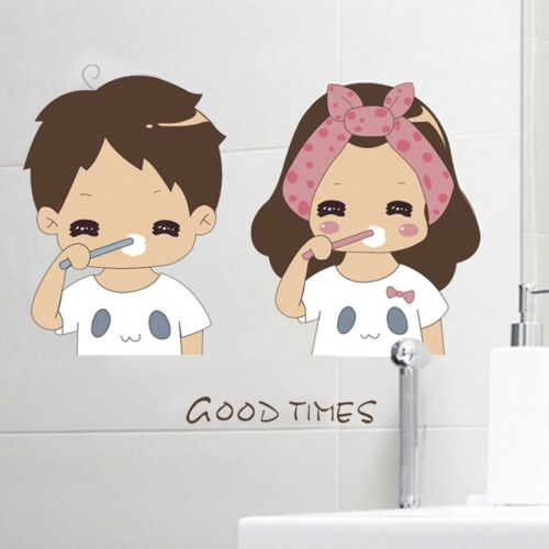 Fine GOOD TIMES Vinyl Boy/&Girl Brush Teeth Bathroom Wall Sticker Home Decal #JK