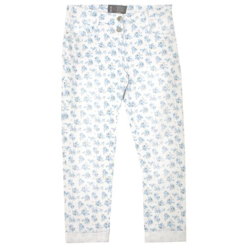 20884 Cecil vaqueros señora pantalones scarlett tapered Stretch Weiss floral Print