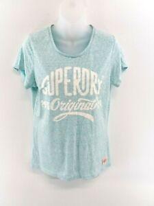 SUPERDRY-Womens-T-Shirt-Top-M-Medium-Green-White-Cotton-Viscose-Polyester