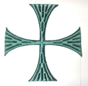 Vintage-Cuadrado-Cruz-Bordado-para-Coser-Azul-Verde-E-5-034-1-2-Emblema-Patch-2PC