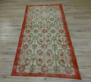 Vintage Floral Design Carpet Anatolian Hand Knotted Orange Oushak Area Rug 4x7ft
