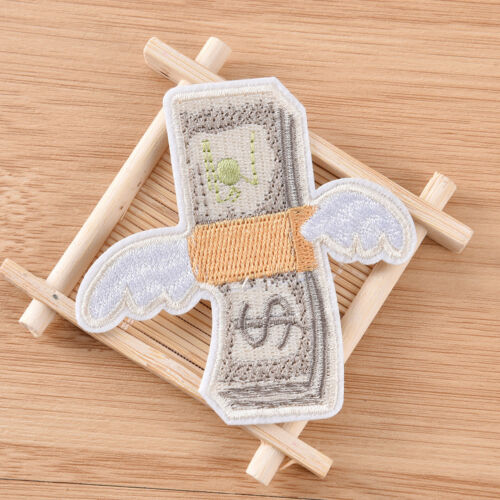 DIY Money with Wings Patch Embroidered Applique Sew Iron On Patch Badge Xmas、Fad