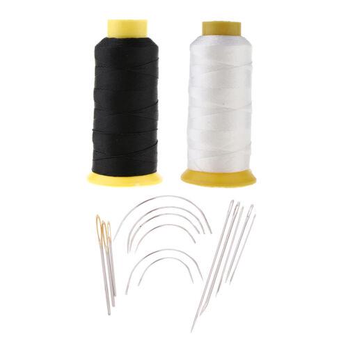 14 Stück Nähnadeln Kit für 2 Stück Schwarz Weiß Bonded Nylon Nähgarn