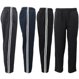 Mens-Drawstring-Track-Sweat-Pants-Trousers-Casual-Suit-w-Stripes-Breathable-Mesh