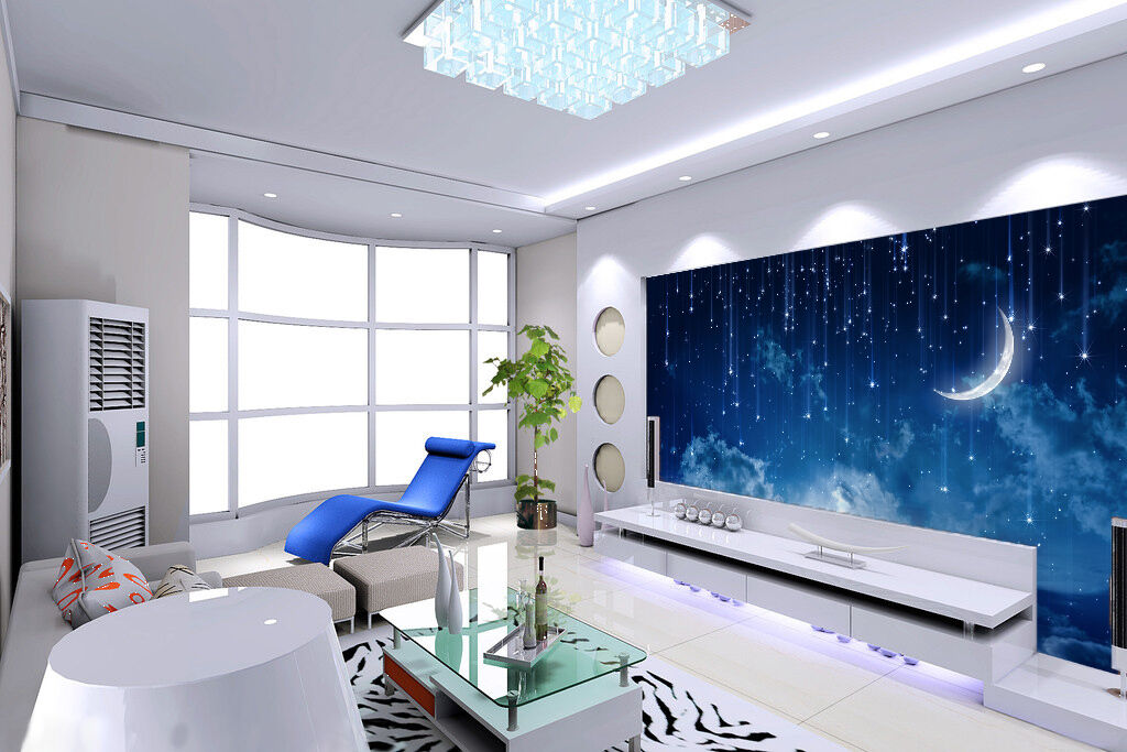 3D moon night Starry sky Wall Paper Print Decal Wall Deco Indoor wall Mural