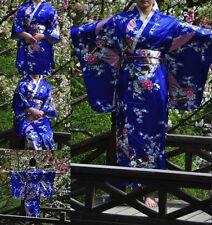Blue Vintage Kimono Yukata Gown Japanese Floral Robe Haori Geisha Dress with Obi